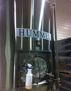 Beer tank named for George Hummel at 16 Mil Brewing.